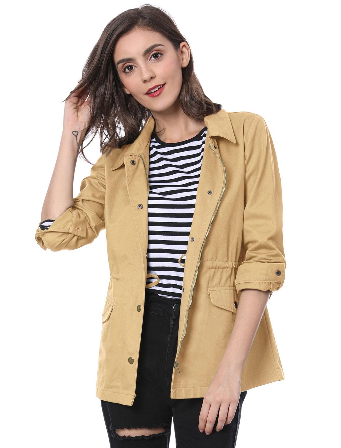 Women's Drawstring Waist Flap Pockets Lightweight Utility Jacket Khaki XL