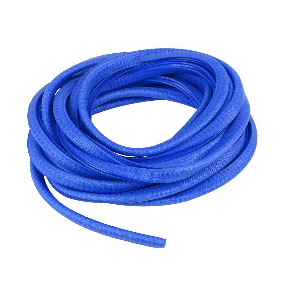 5m Rubber U Shape Car Door Edge Trim Guard Protector Seal Strip Roll Blue