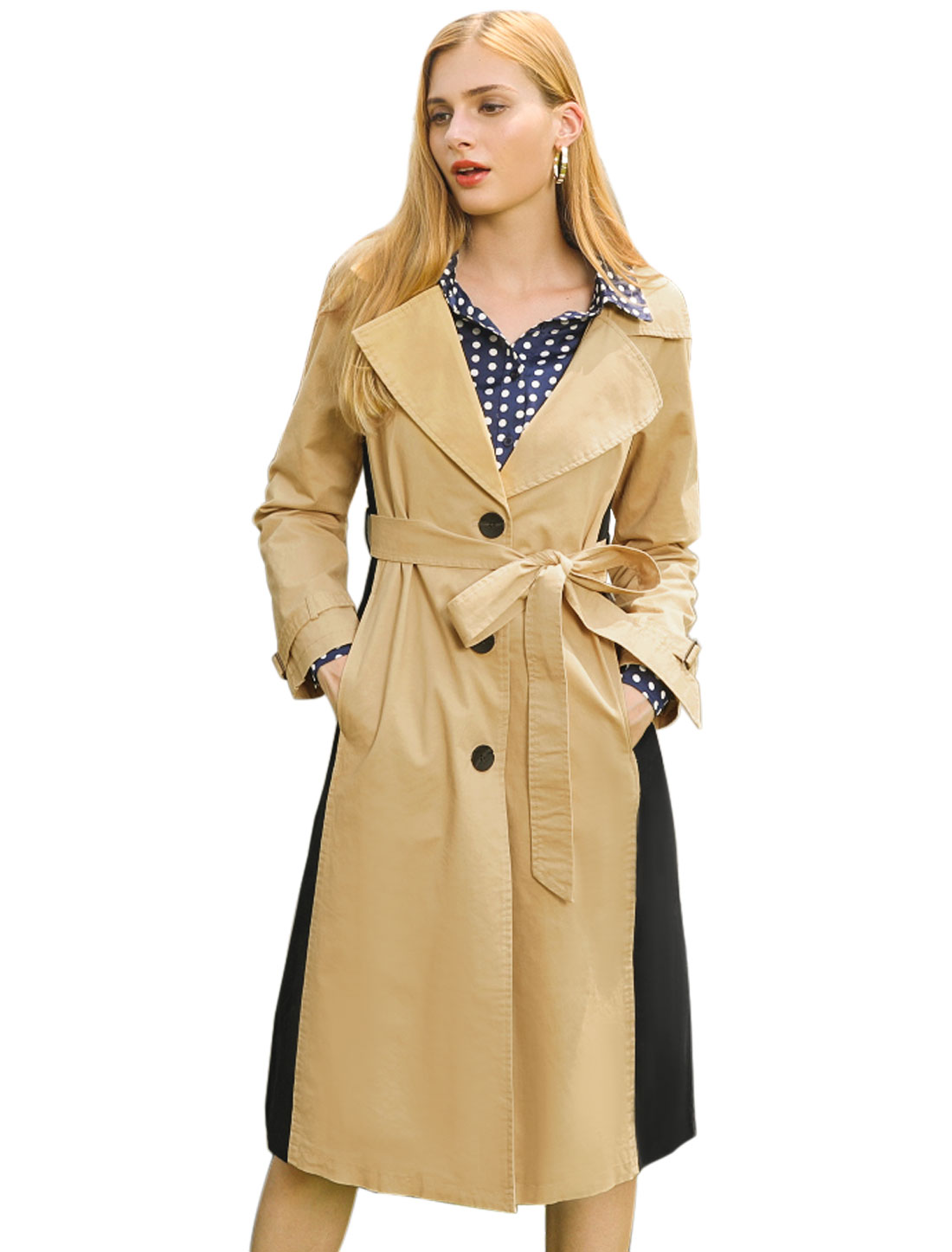 Women's Notched Lapel Long Jacket Contrast Color Belted Trench Coat Khaki XS