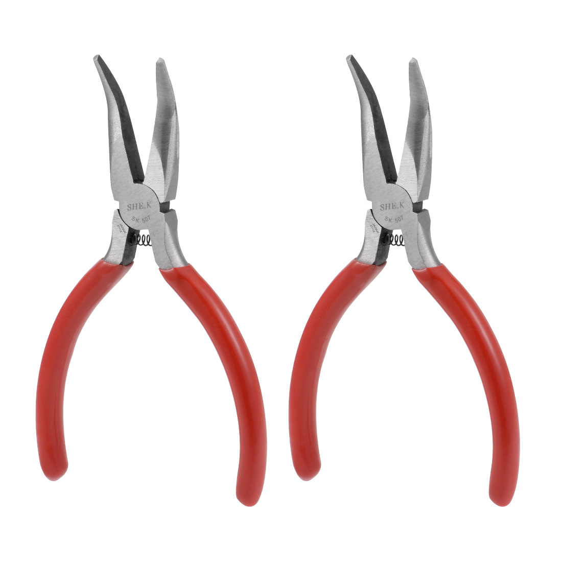 Bent Long Nose Pliers 5-Inch Forged from High Carbon Steel, Nickel Plating 2 Pcs