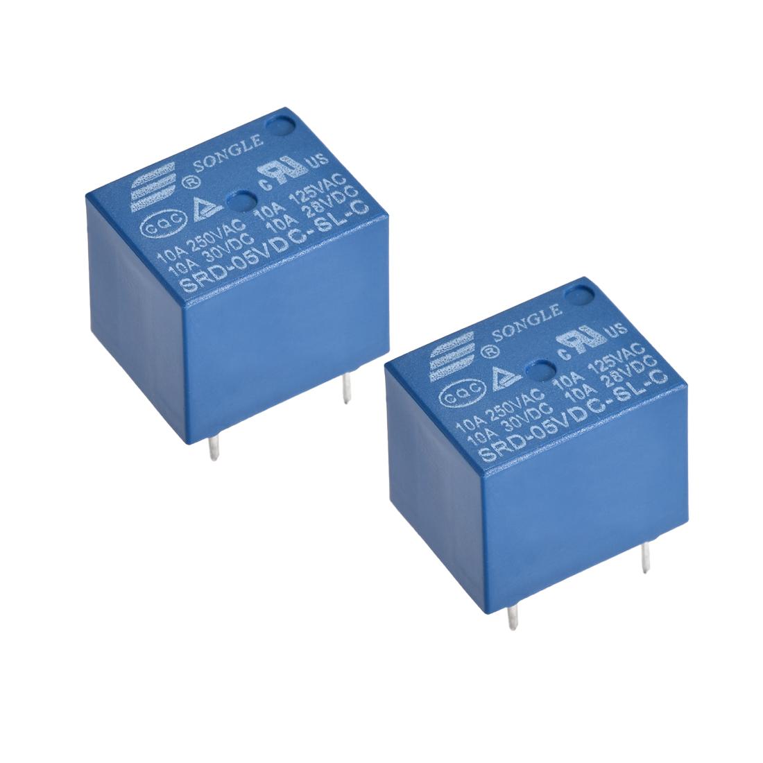 SRD-05VDC-SL-C Power Relay DC 5V 10A 5 Pin SPDT PCB Type 1NO 1NC 2 Pcs
