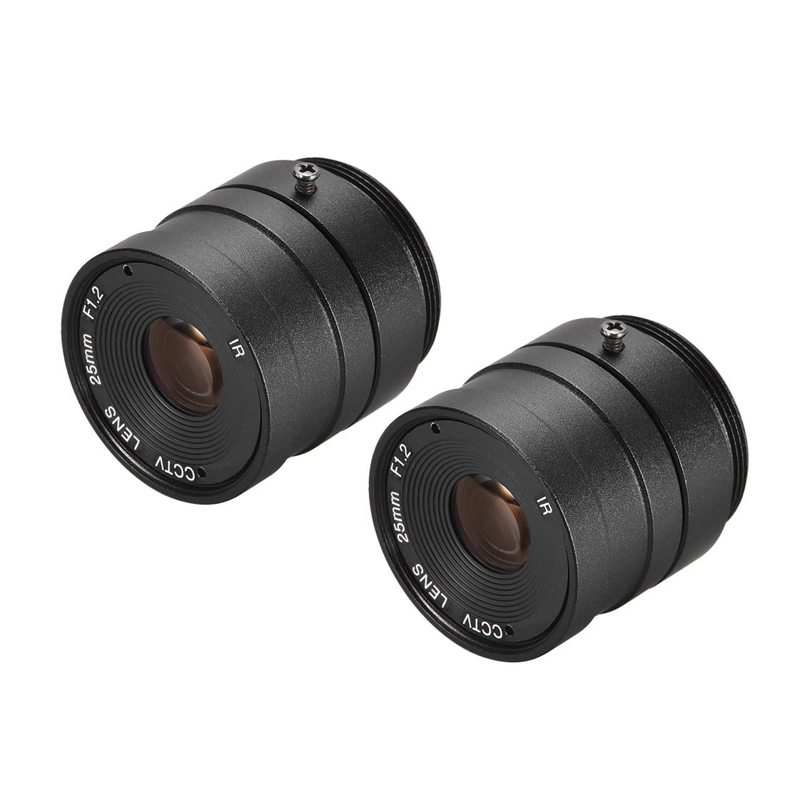 2 Pcs Camera Varifocal Lens 25mm Focal Length 720P F1.2 1/3 Inch CS Mount