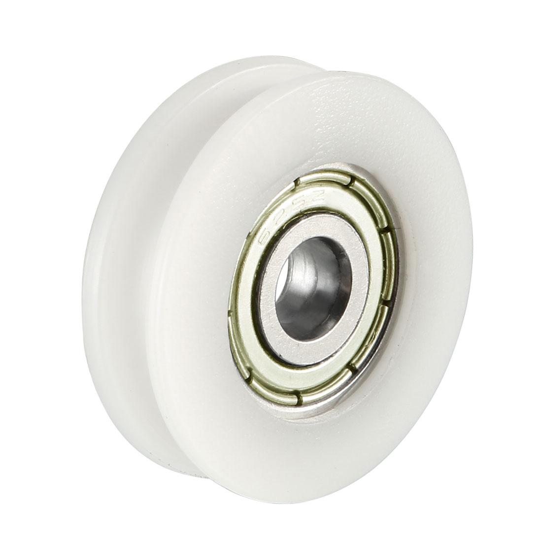 V Groove Guide Bearing Pulley Rail Ball Wheel White 5x24x7mm 2pcs