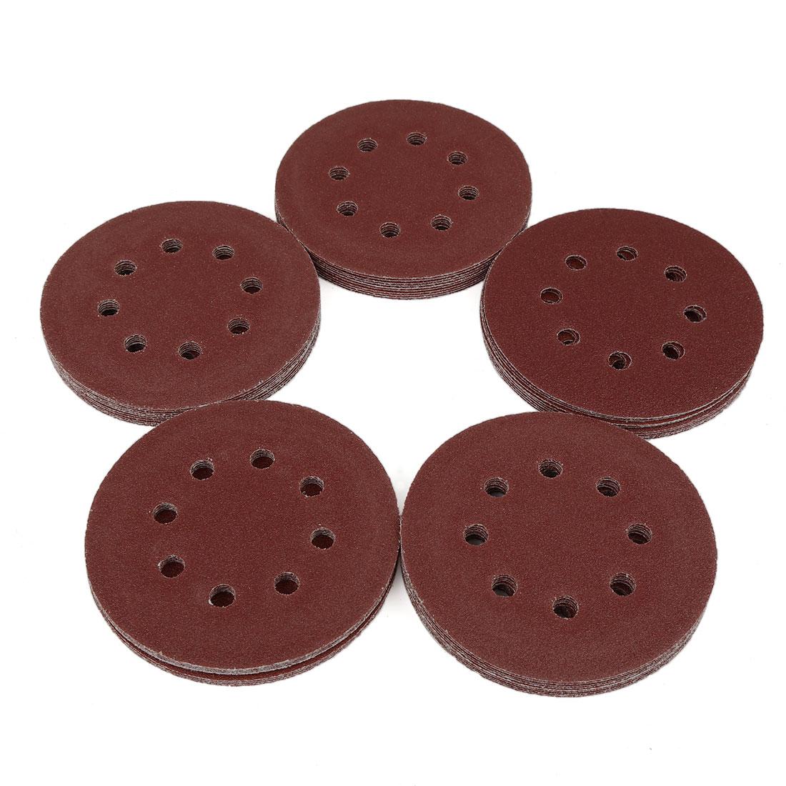 50pcs 5 Inch 8 Hole Hook and Loop Sanding Discs Sander Pads 80 Grit Sandpaper