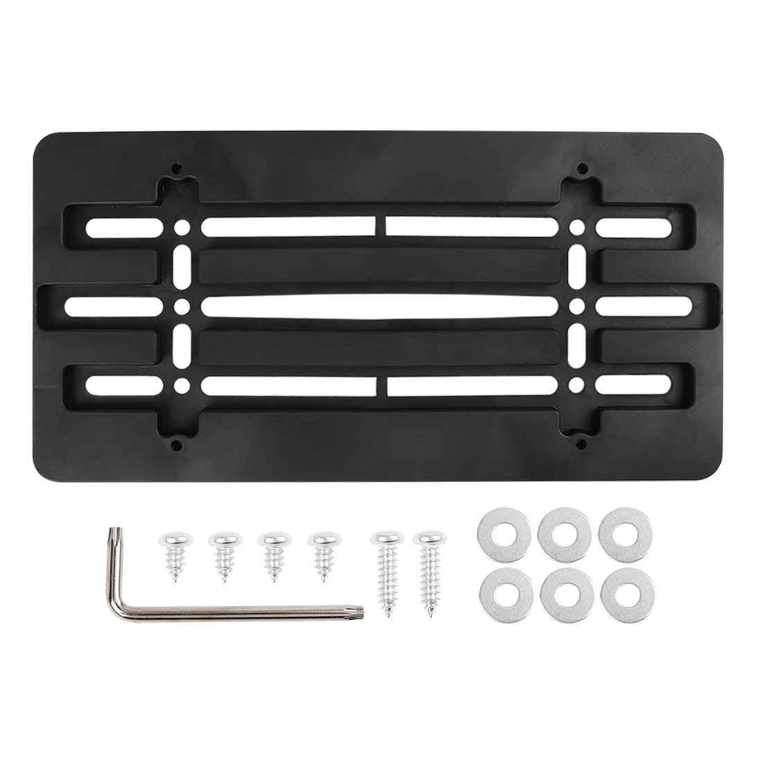 Universal License Plate Bracket Holder Front Bumper w/ 6 Secure Screw Wrench Kit