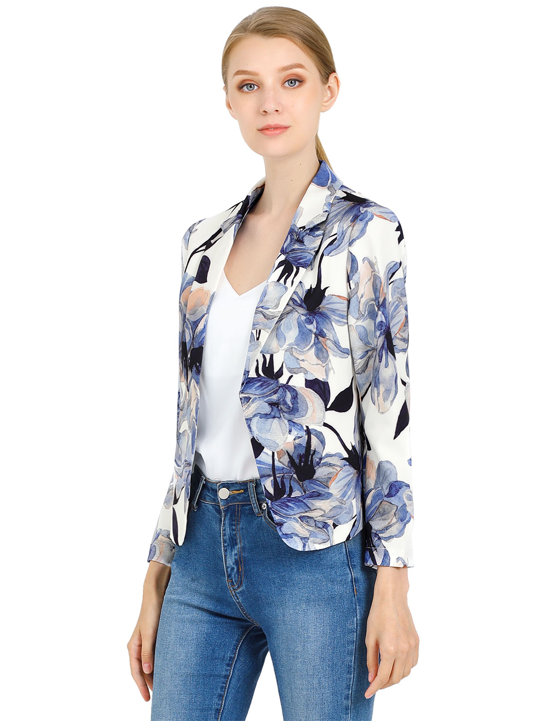Allegra K Women Contrast Lining Open Front Floral Blazer White Blue M
