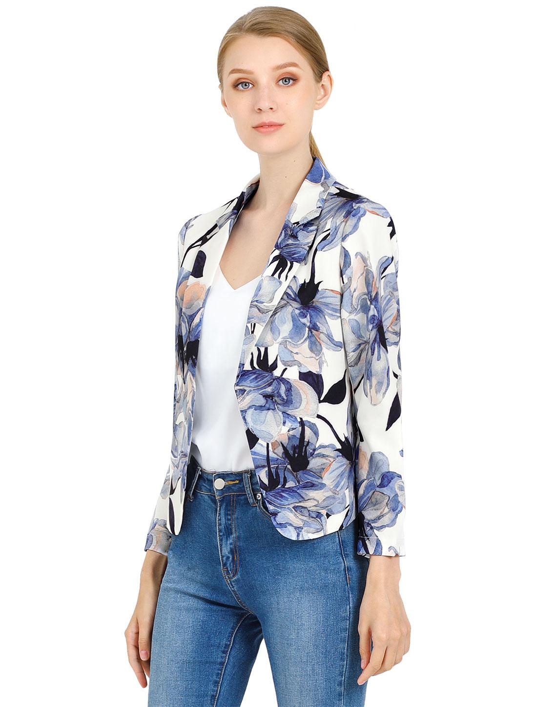 Allegra K Women Contrast Lining Open Front Floral Blazer White Blue L