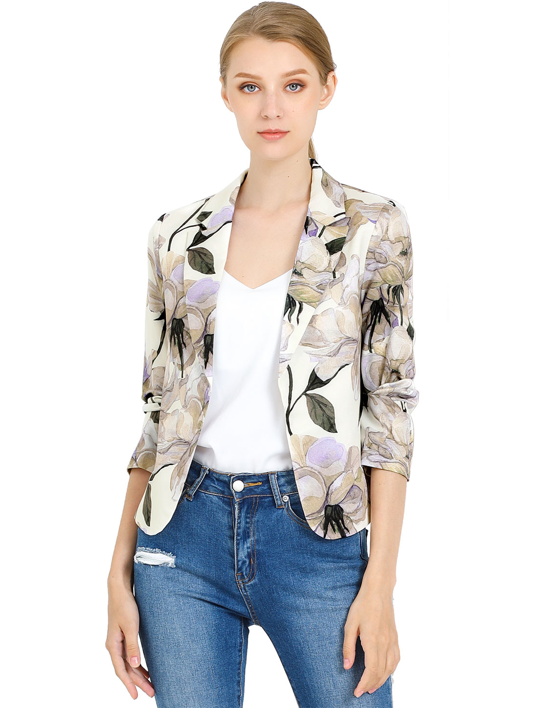 Allegra K Women Contrast Lining Open Front Floral Blazer Beige Purple XS