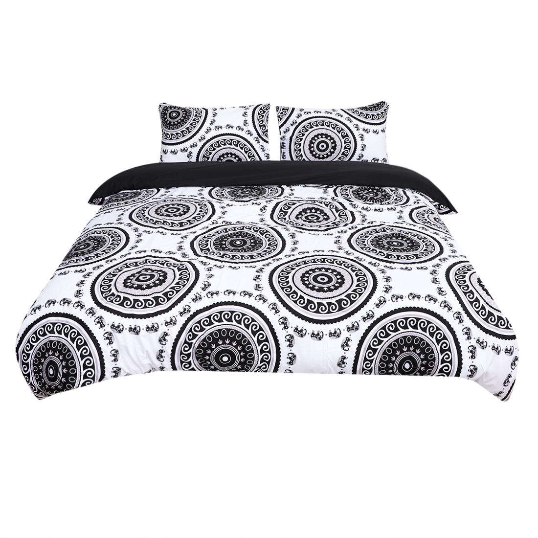 King All-season Duvet Cover Sets Bohemian White, with 2 Pillow Cases