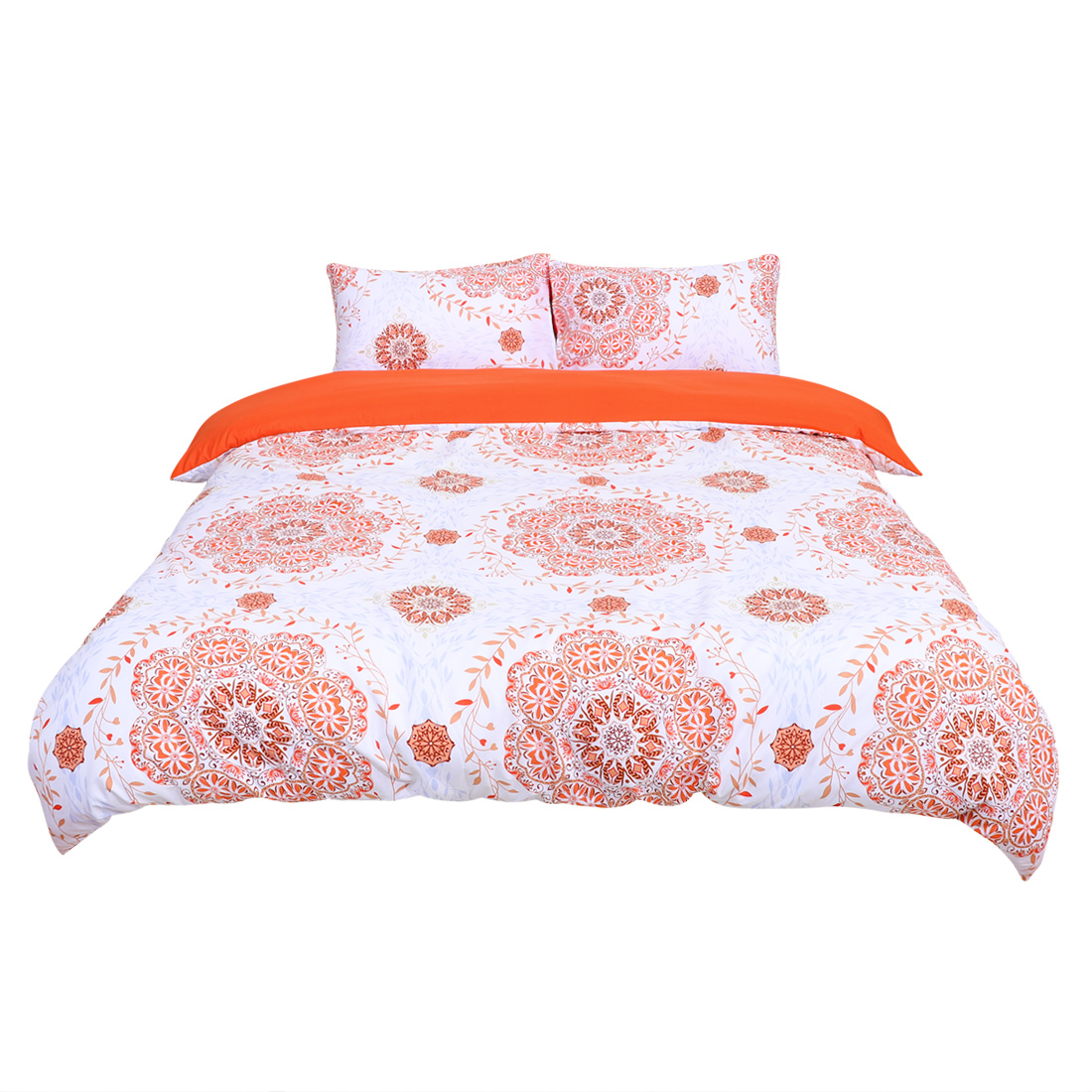 King All-season Duvet Cover Sets Bohemian Orange, with 2 Pillow Cases