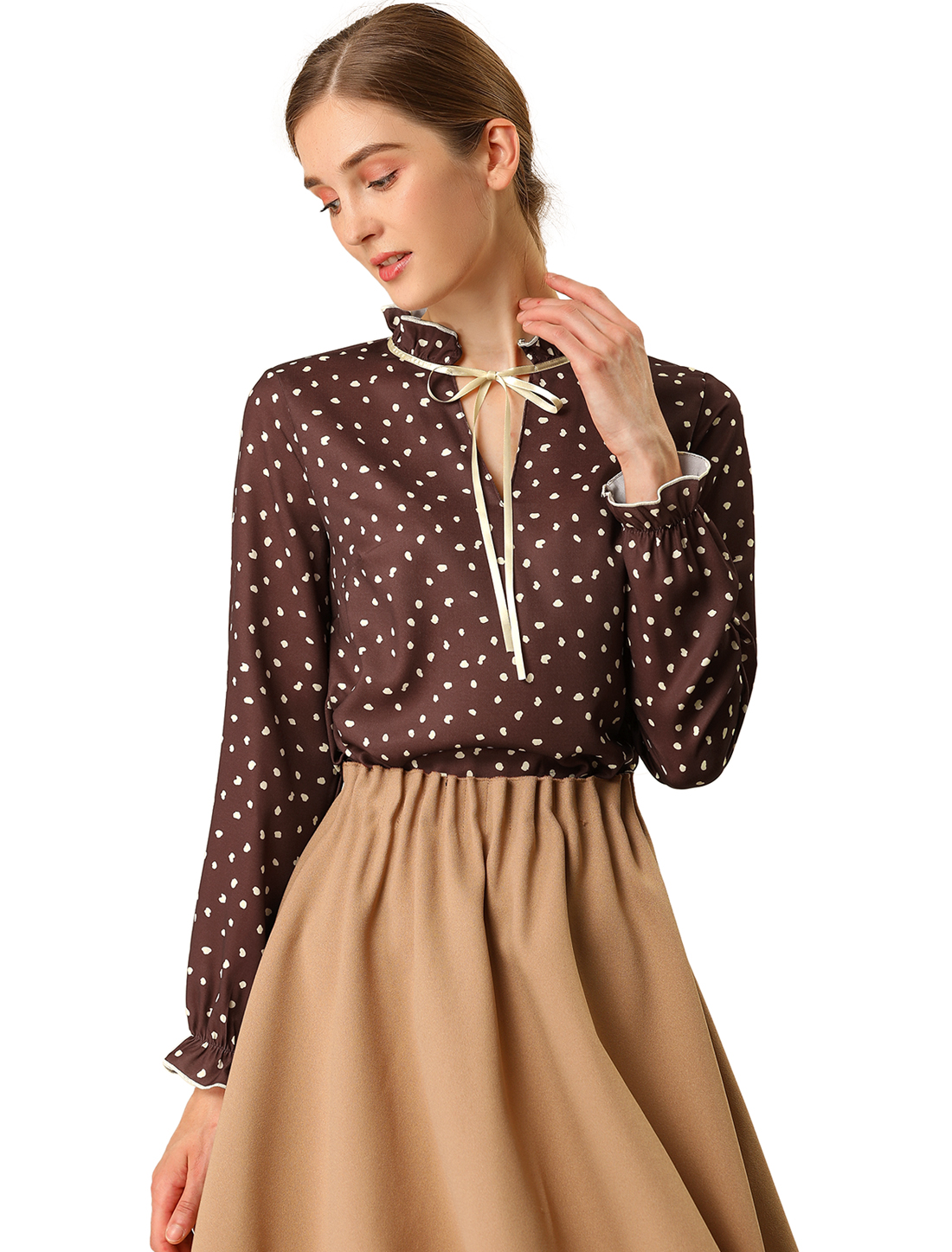 Allegra K Women's Tie Ruffled Neck Polka Dots Blouse Tops Maroon Red S