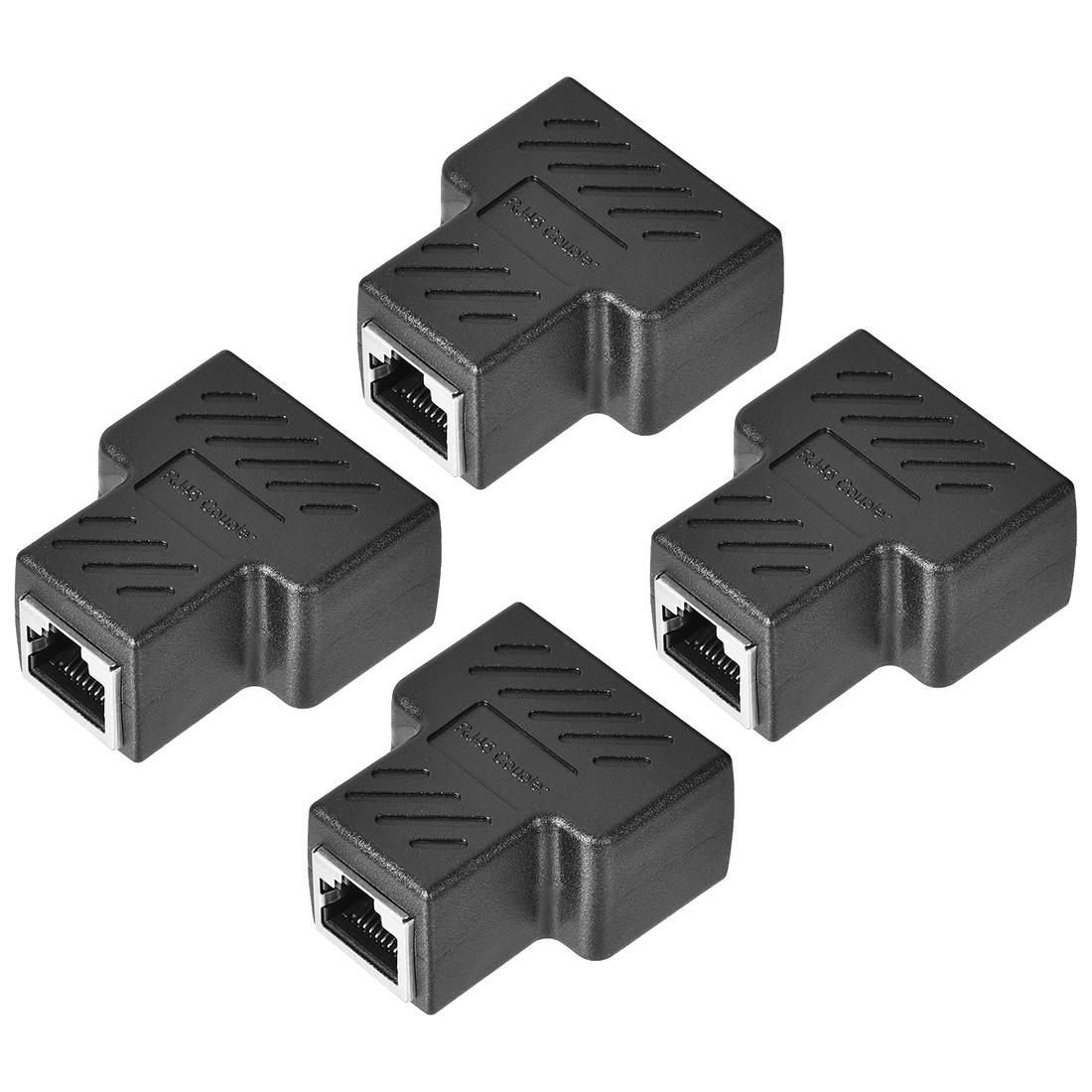 RJ45 Coupler Inline Connector Cat7 Cat6 Cat5e Ethernet Cable 44x36x21mm 4Pcs