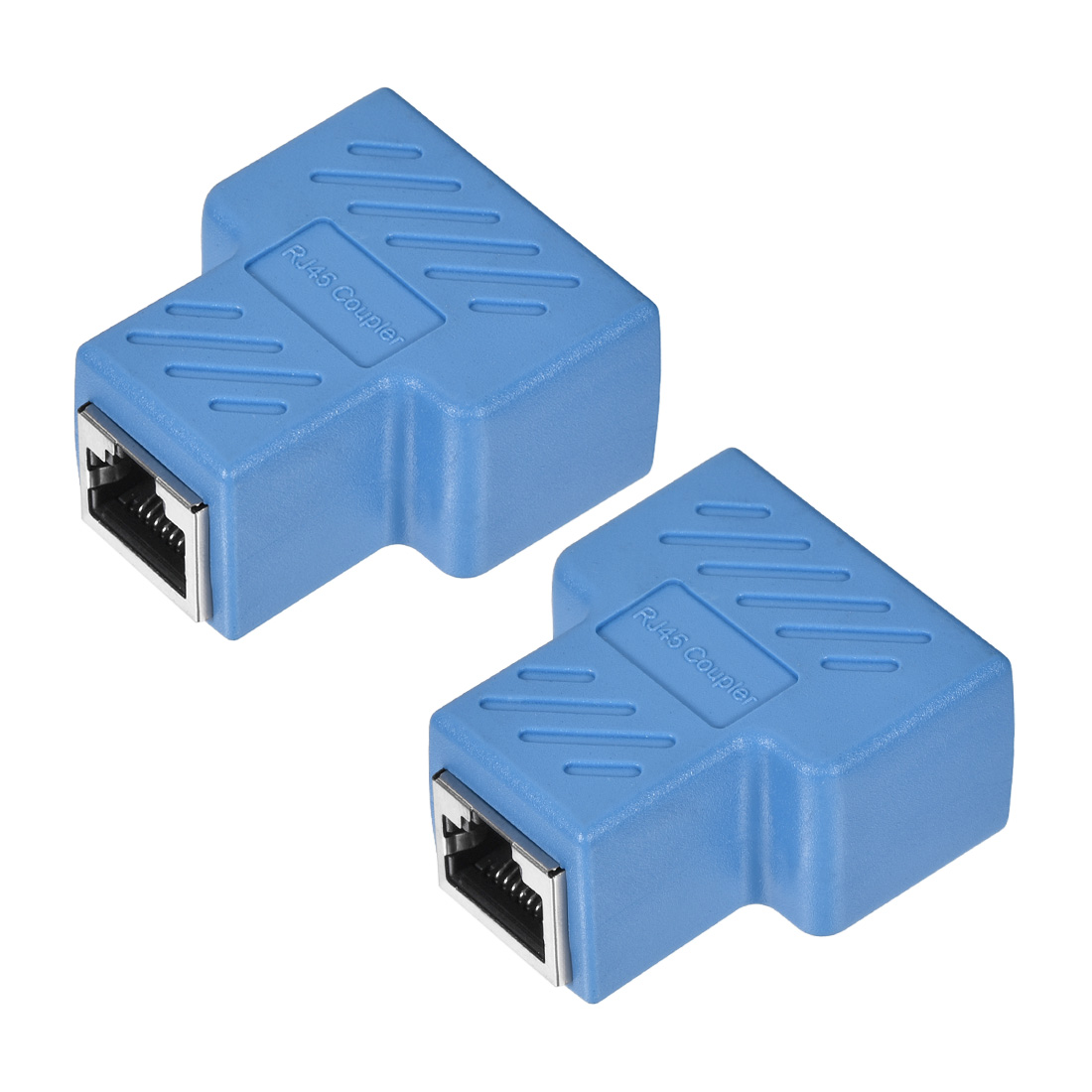 RJ45 Coupler Inline Connector Cat7 Cat6 Cat5e Cable 44x36x21mm Blue 2Pcs