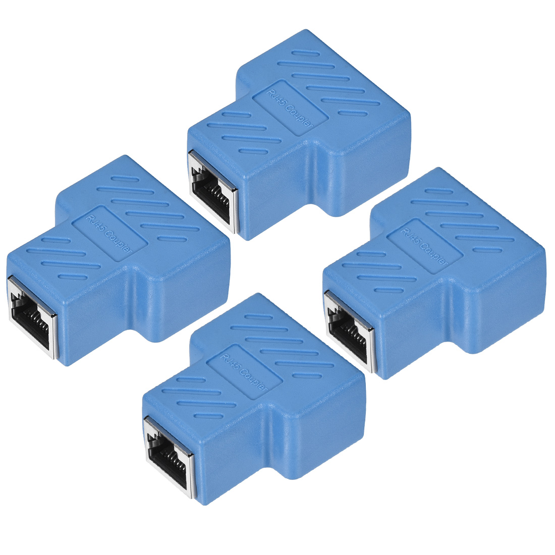 RJ45 Coupler Inline Connector Cat7 Cat6 Cat5e Cable 44x36x21mm Blue 4Pcs