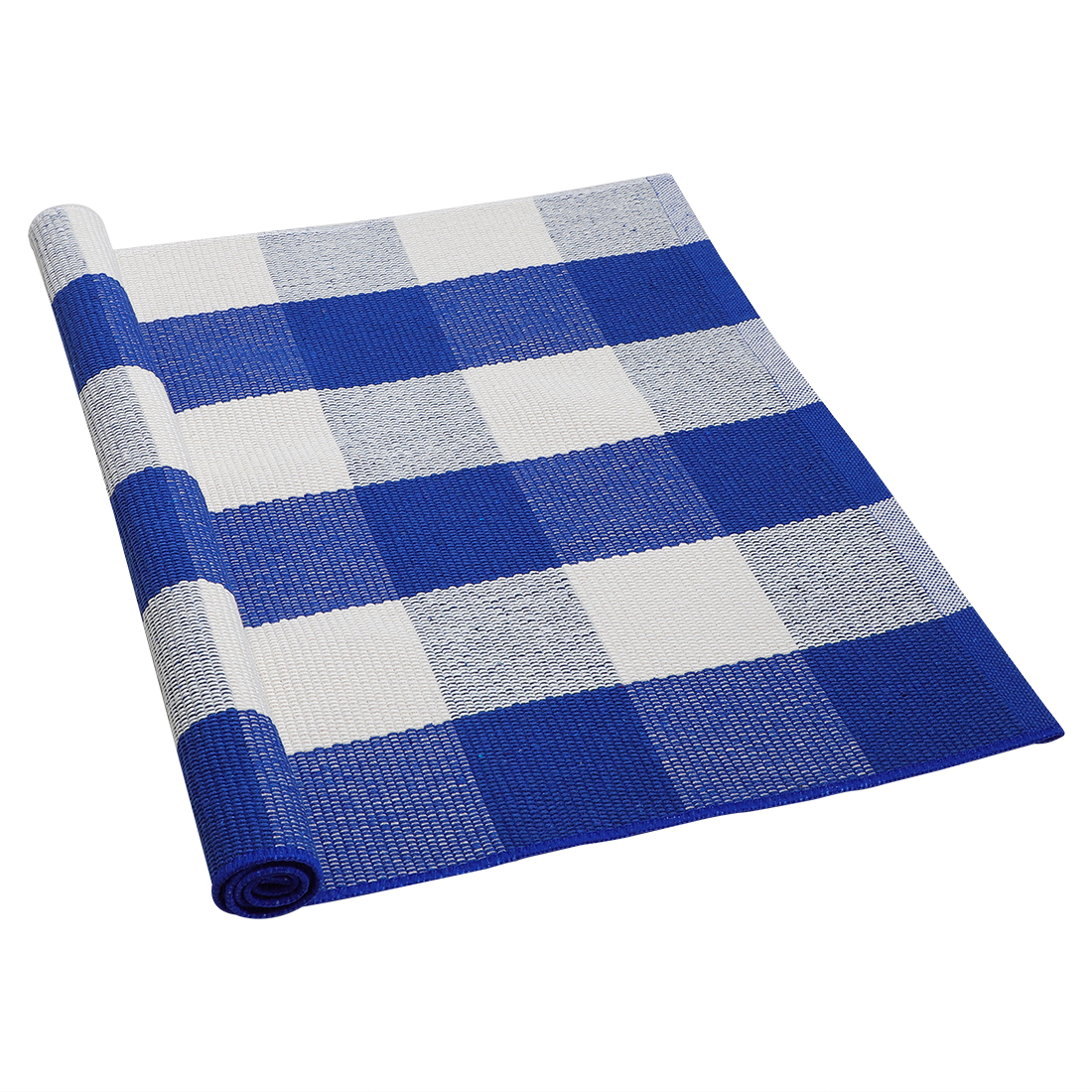 Cotton Checkered Plaid Floor Area Rug Runner Carpets Indoor Outdoor Blue White