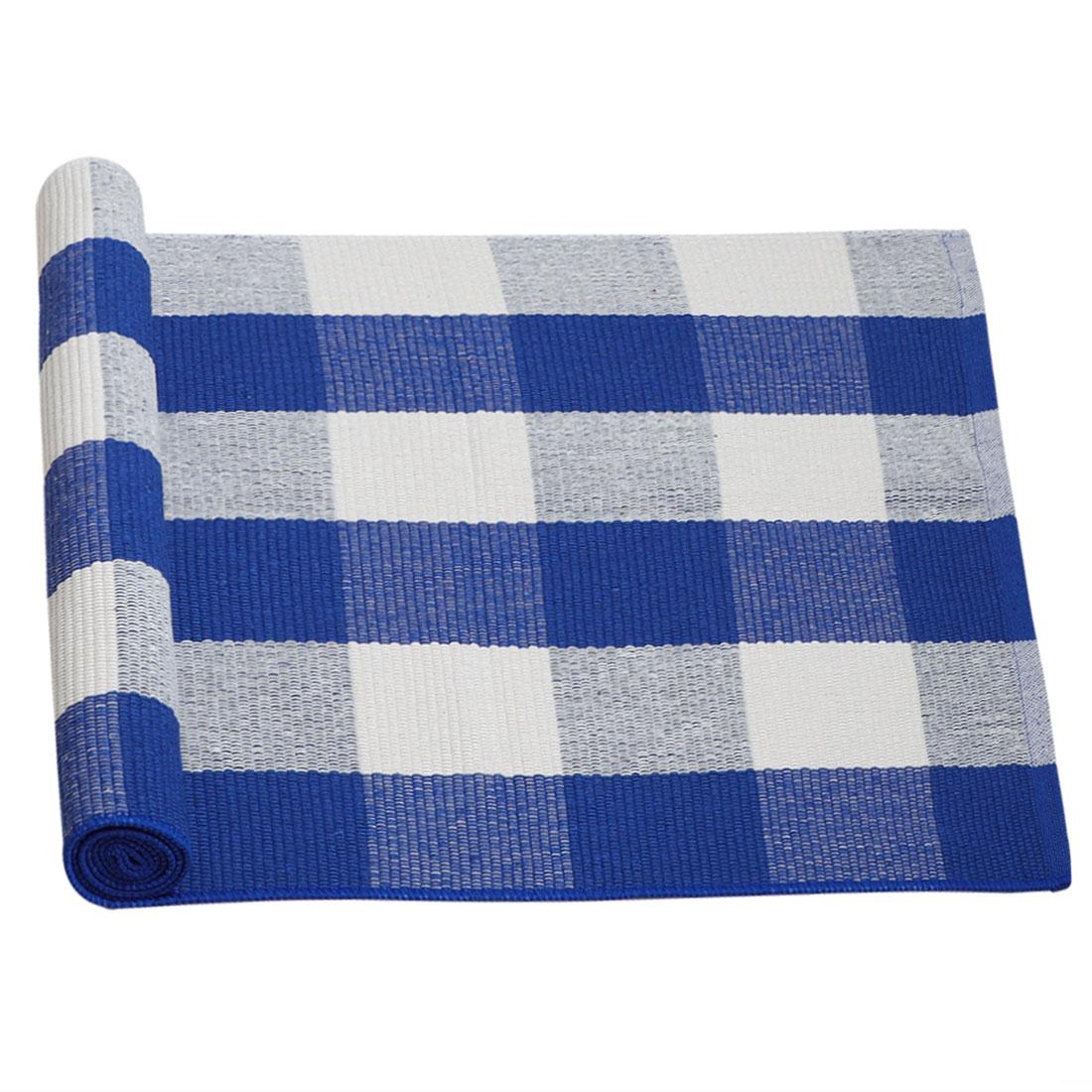 Cotton Checkered Plaid Floor Area Rug Runner Carpet Indoor Outdoor Blue White