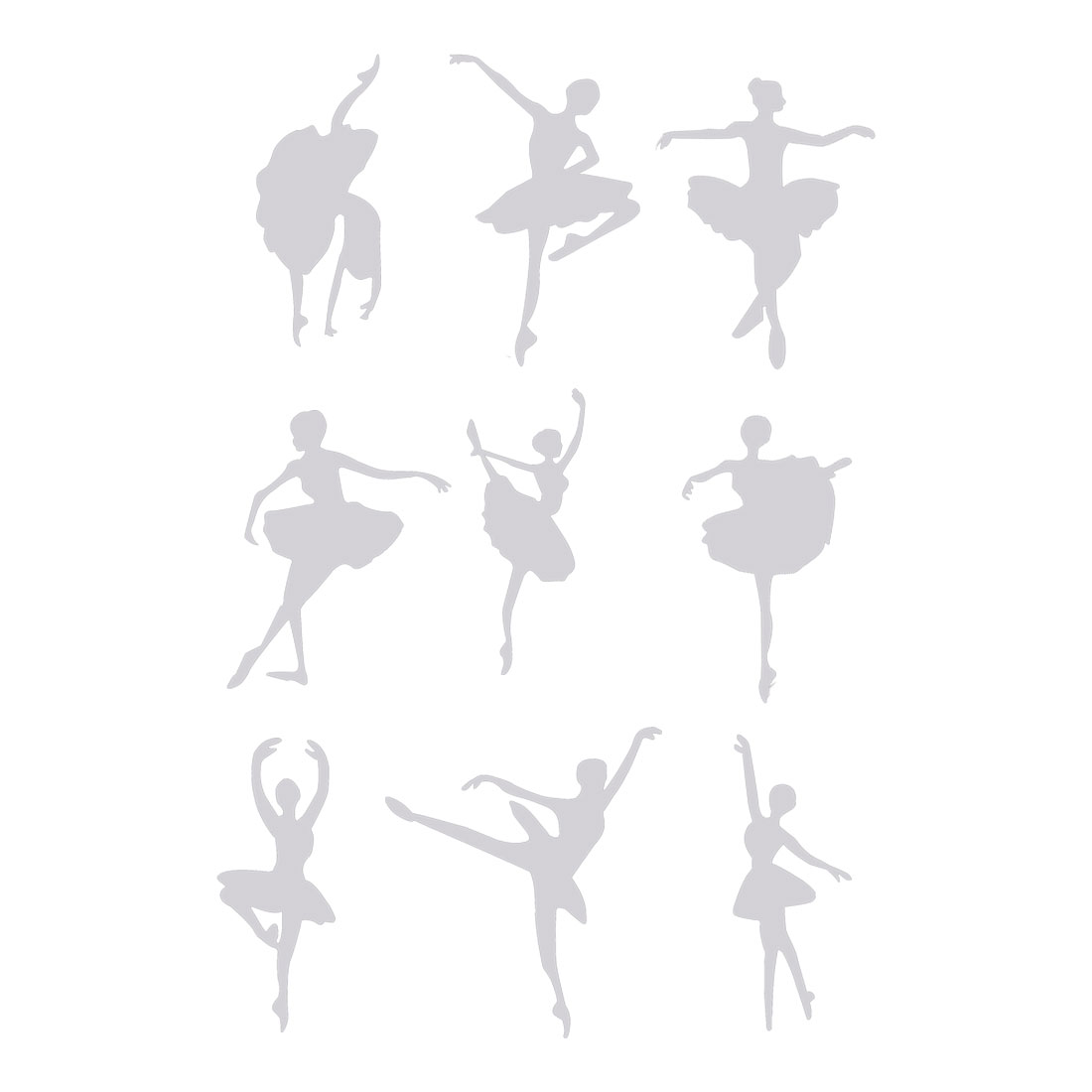 Mirror Wall Sticker Dance Shape 9 Pcs for Living Room Decoration Silver Tone
