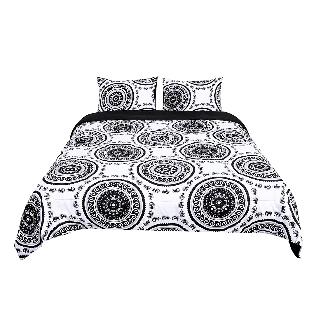 Queen All-season Quilted Comforter Sets Bohemian White, with 2 Pillow Cases