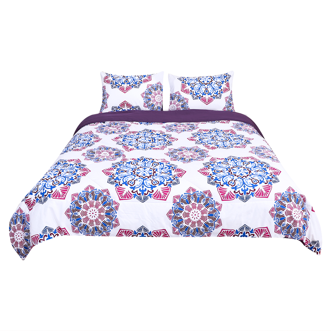 Queen All-season Quilted Comforter Sets Bohemian Purple, with 2 Pillow Cases