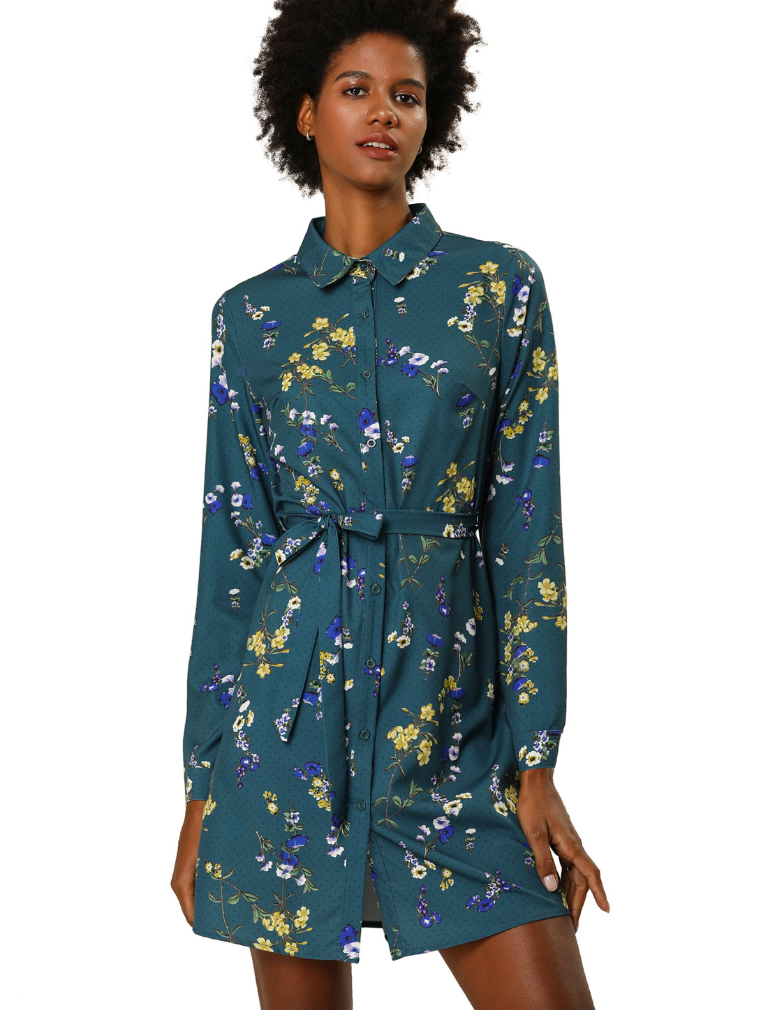 Allegra K Women's Button Down Polka Dots Floral Shirt Dress Teal Blue L
