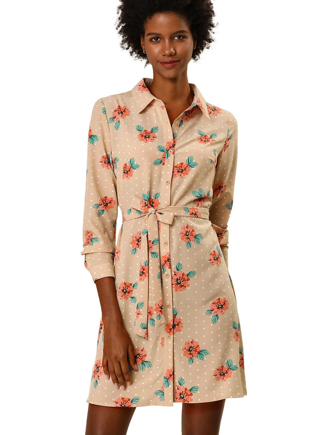 Allegra K Women's Button Down Polka Dots Floral Shirt Dress Apricot M