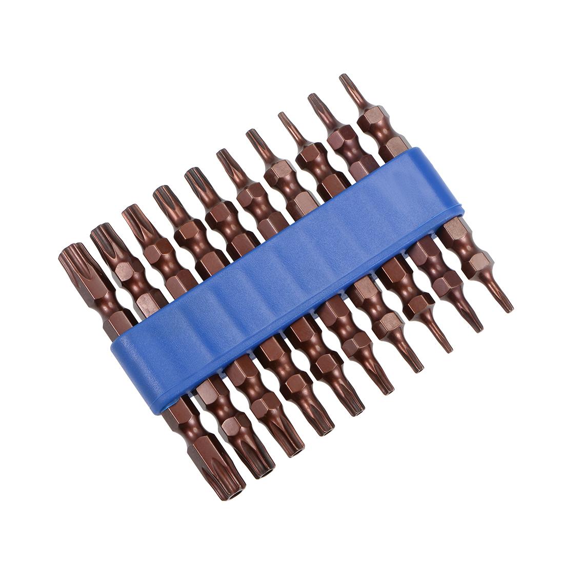 Torx Bits Set 10pcs 1/4 Inch Hex Shank 65mm Screwdriver T6-T40 Screwdriver Bits