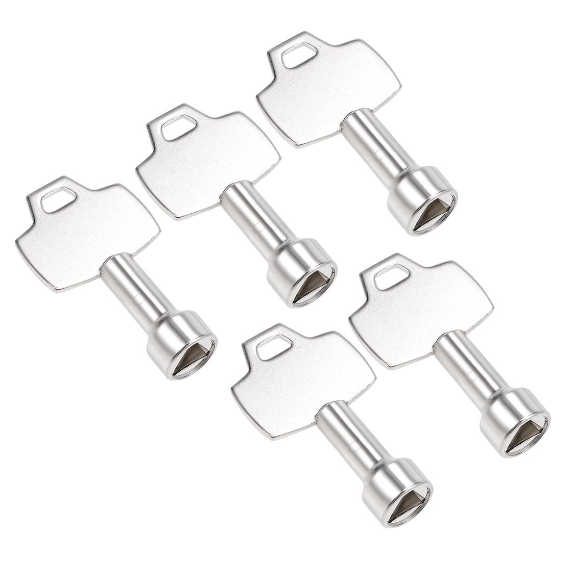 Electrical Cabinet Key 8x1.5mm Zinc Alloy Triangle Water Meter Box Key 5Pcs