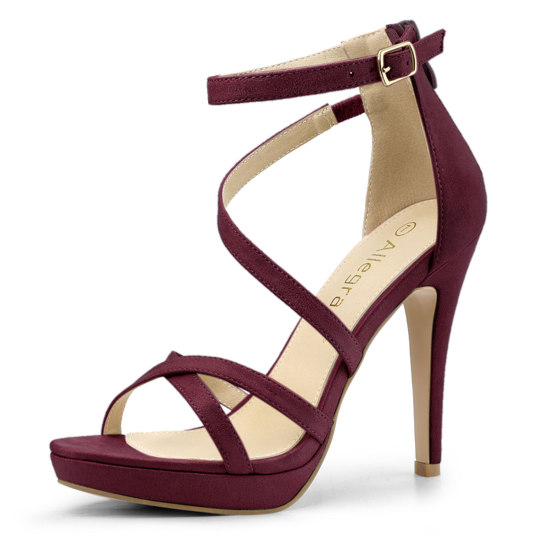 Allegra K Women's Strappy Platform Stiletto Heels Sandals Burgundy US 7.5