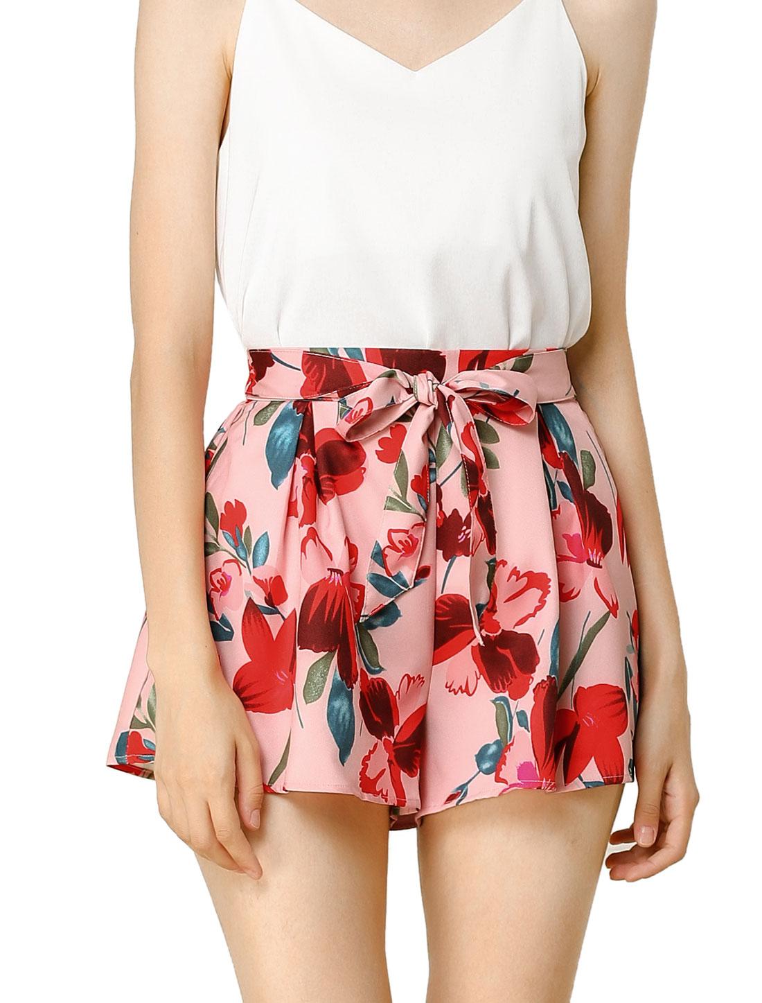 Women Elastic Waist Floral Print Summer Boho Beach Shorts Pink S