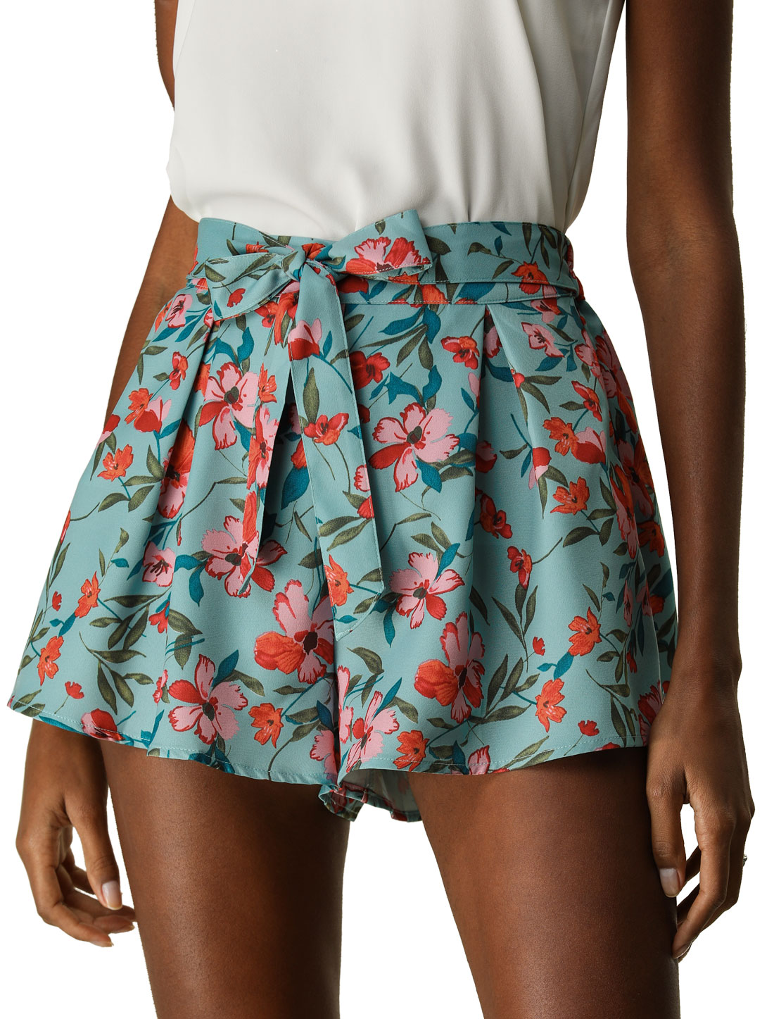 Women Elastic Waist Floral Print Summer Boho Beach Shorts Blue Green XS