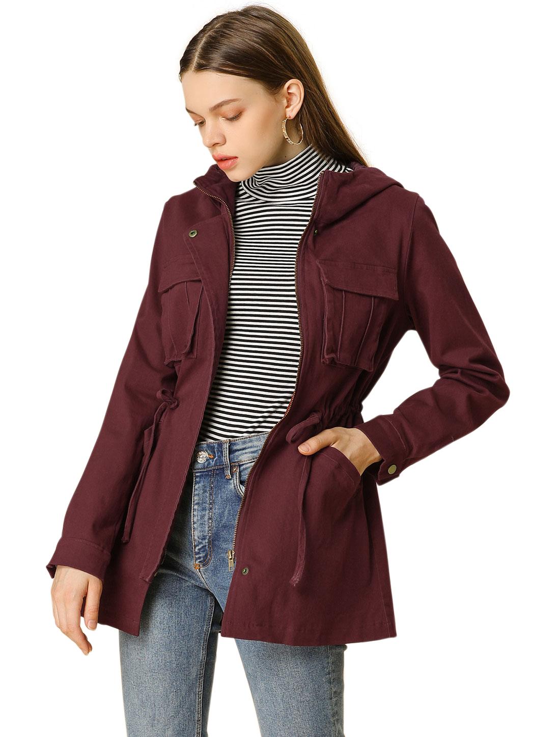 Allegra K Women's Single Breasted Zip Up Drawstring Waist Jacket Brick Red XS