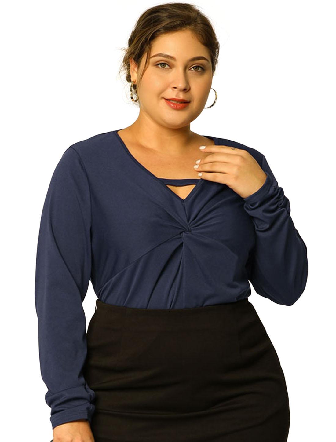 Women's Plus Size Keyhole Work Long Sleeve Top Dark Blue 2X