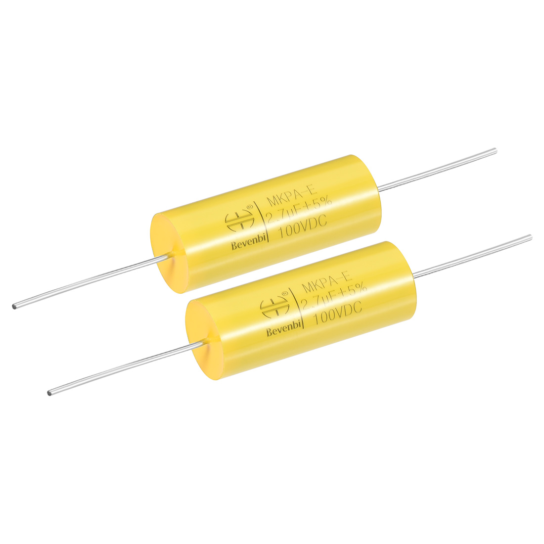 Film Capacitor 100V DC 2.7uF MKPA-E Round Polypropylene Capacitors Yellow 2pcs