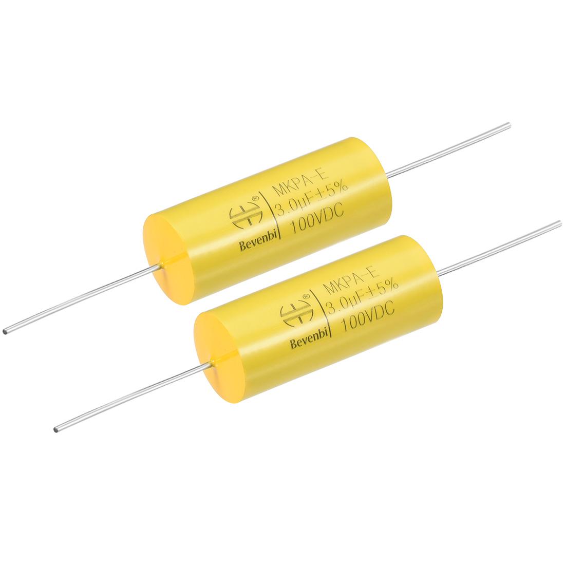 Film Capacitor 100V DC 3.0uF MKPA-E Round Polypropylene Capacitors Yellow 2pcs