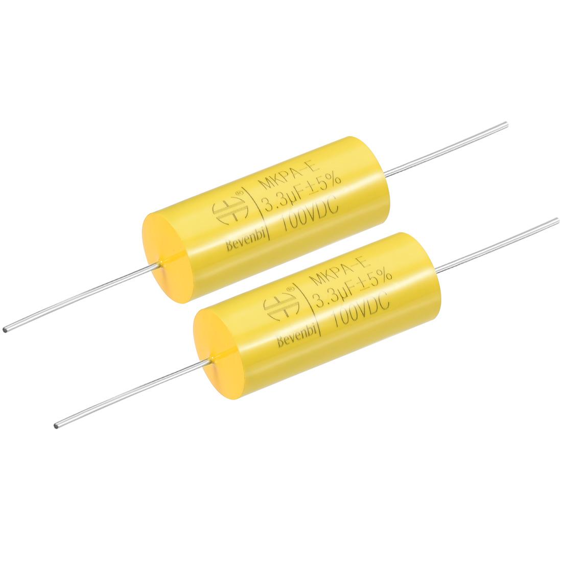 Film Capacitor 100V DC 3.3uF MKPA-E Round Polypropylene Capacitors Yellow 2pcs