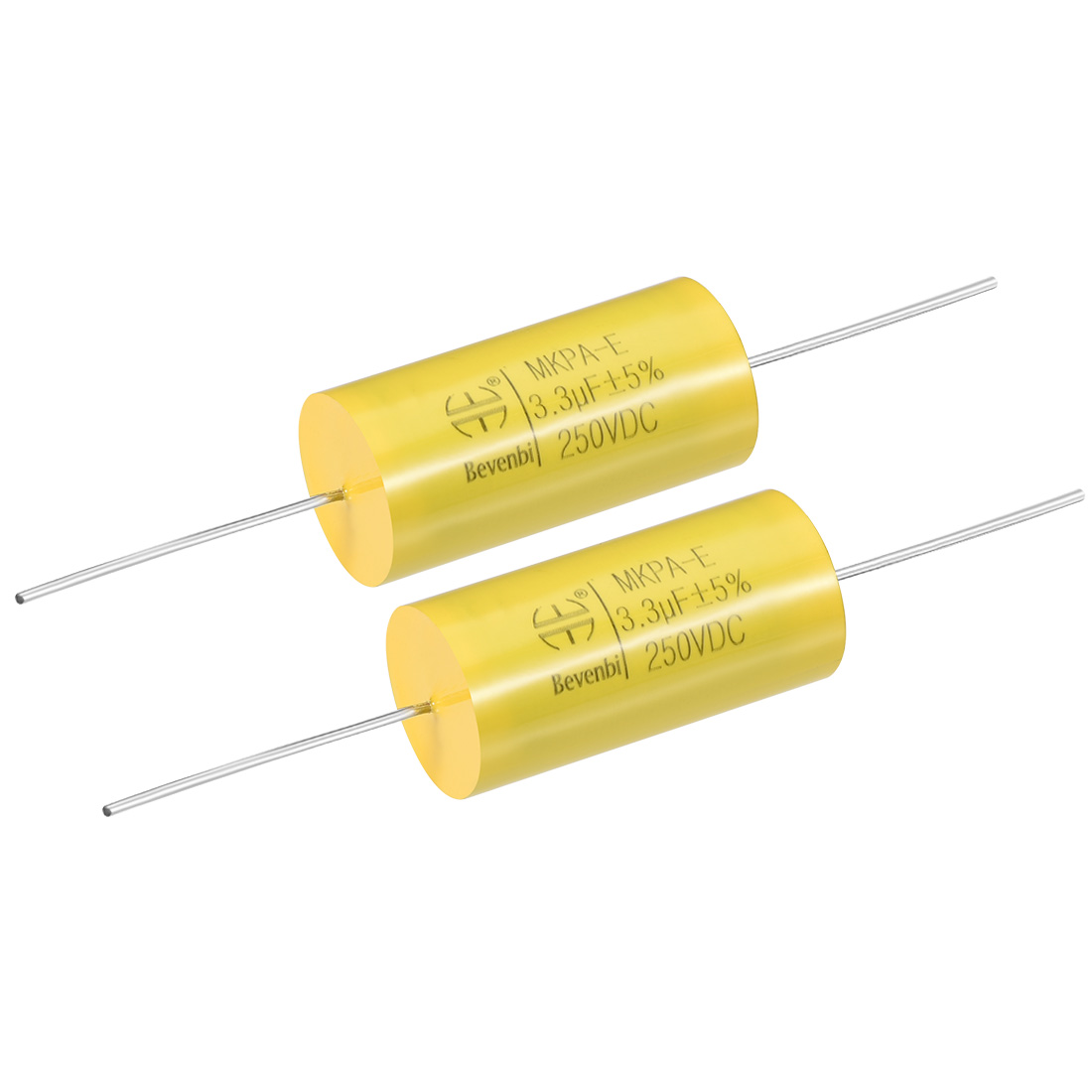 Film Capacitor 250V DC 3.3uF MKP-E Round Polypropylene Capacitors Yellow 2pcs