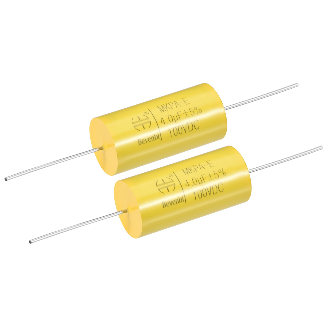 Film Capacitor 100V DC 4.0uF MKPA-E Round Polypropylene Capacitors Yellow 2pcs