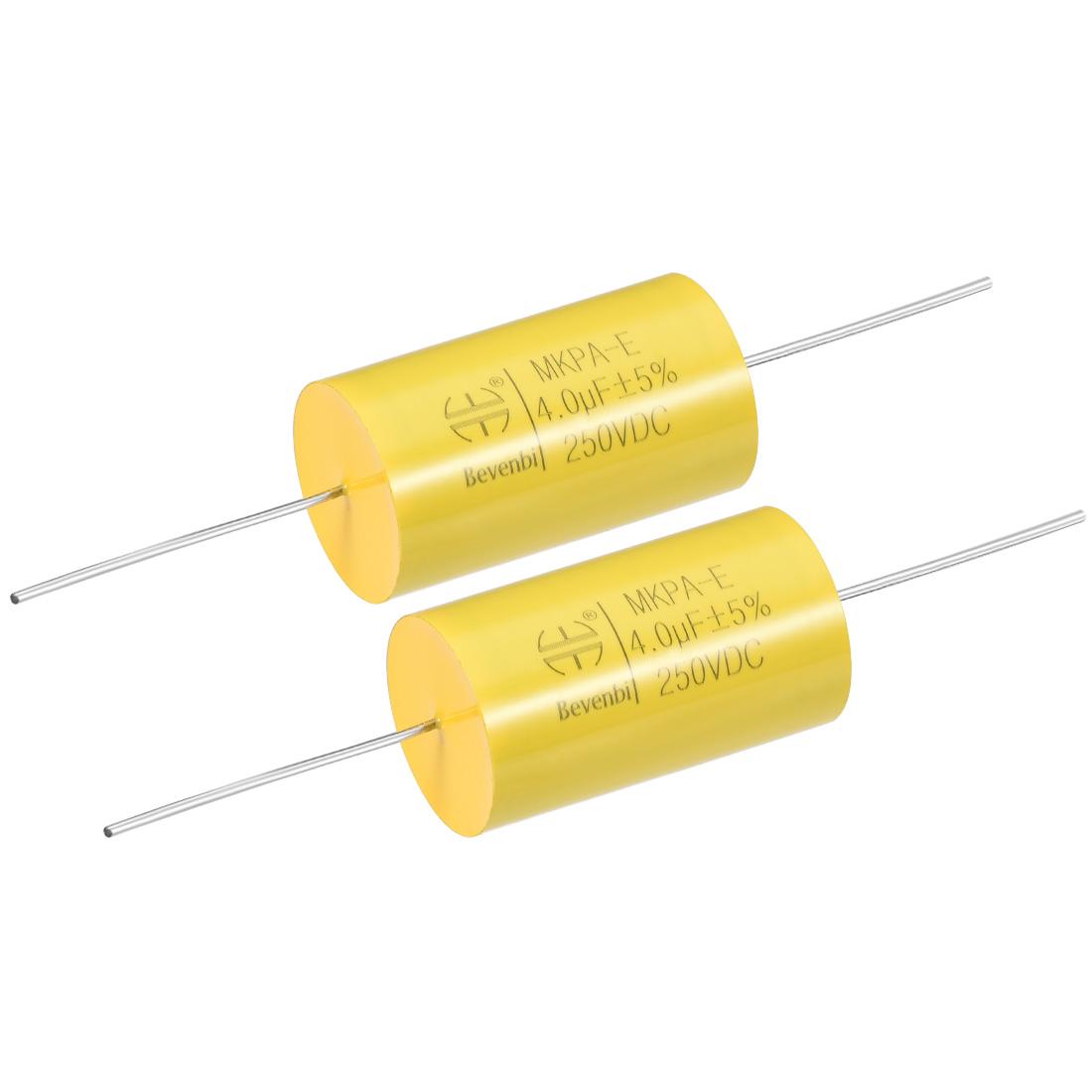 Film Capacitor 250V DC 4.0uF MKP-E Round Polypropylene Capacitors Yellow 2pcs