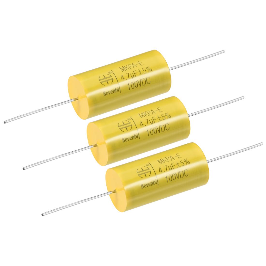 Film Capacitor 100V DC 4.7uF MKPA-E Round Polypropylene Capacitors Yellow 3pcs