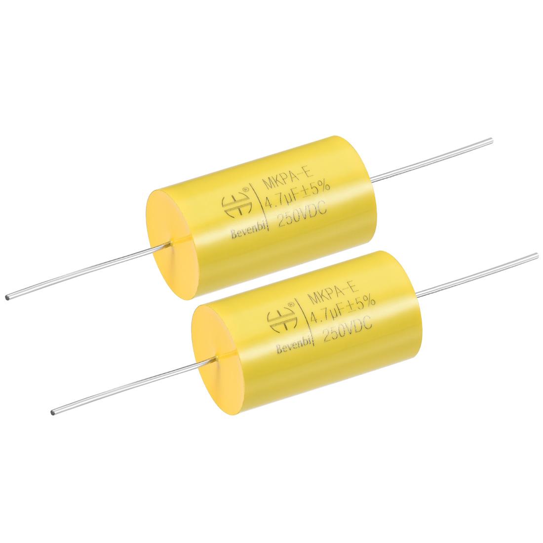 Film Capacitor 250V DC 4.7uF MKP-E Round Polypropylene Capacitors Yellow 2pcs