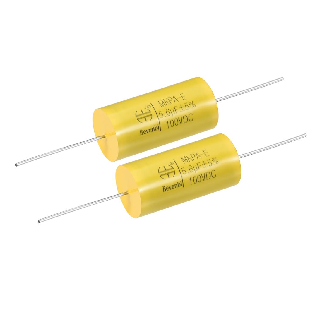 Film Capacitor 100V DC 5.6uF MKPA-E Round Polypropylene Capacitors Yellow 2pcs