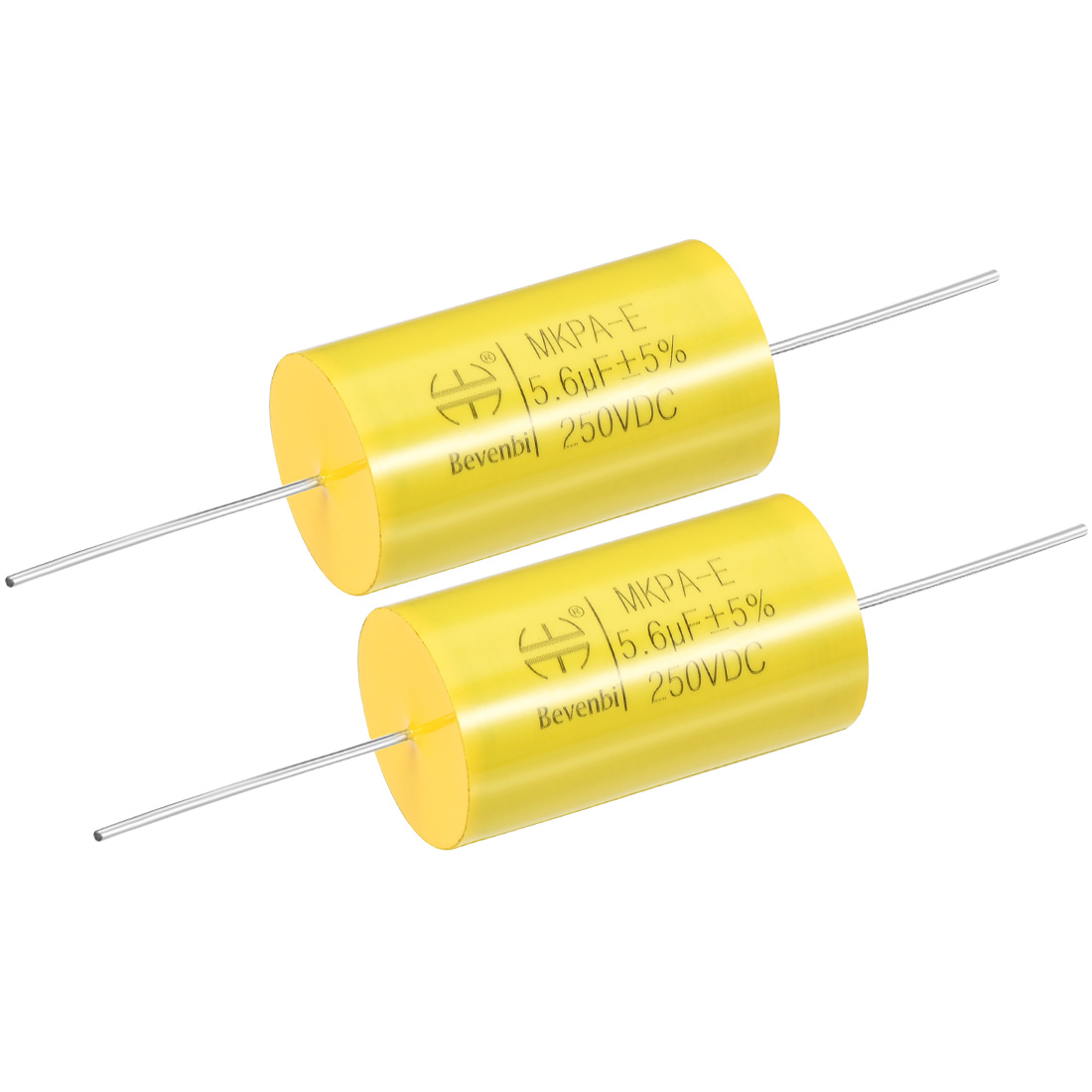 Film Capacitor 250V DC 5.6uF MKP-E Round Polypropylene Capacitors Yellow 2pcs