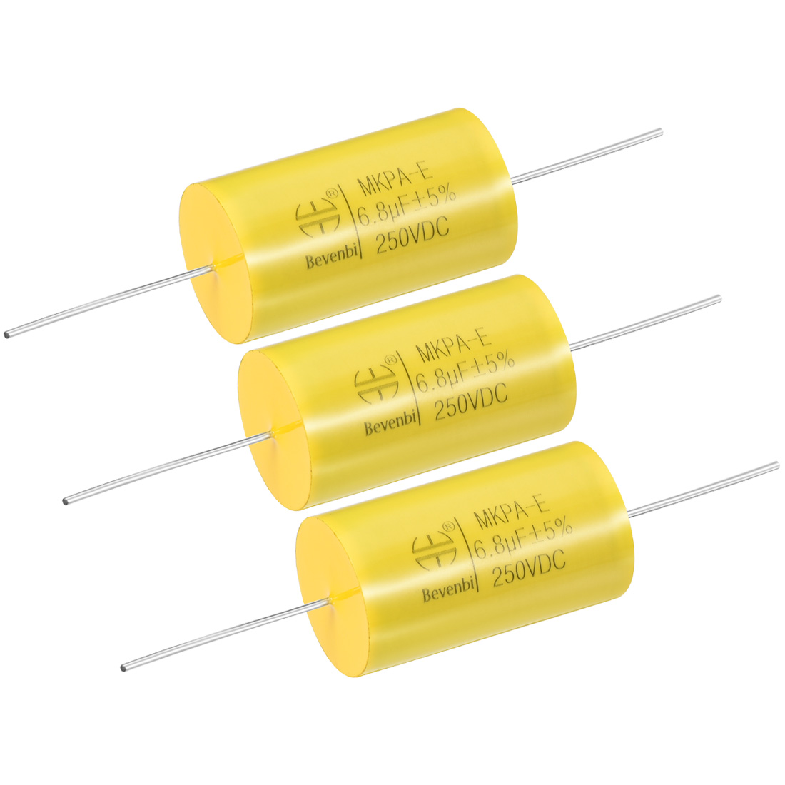 Film Capacitor 250V DC 6.8uF MKP-E Round Polypropylene Capacitors Yellow 3pcs