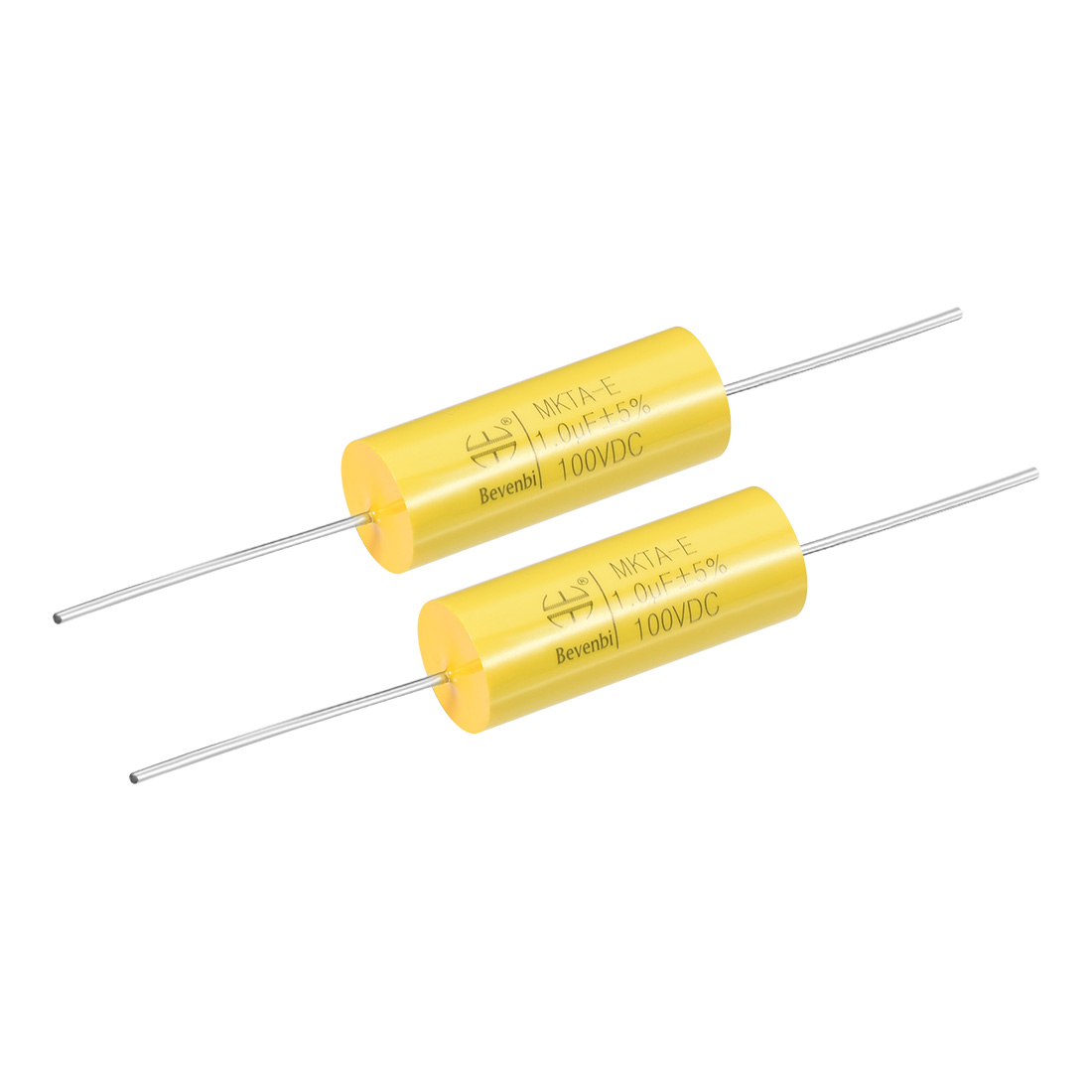 Film Capacitor 100V DC 1.0uF MKTA-E Round Polypropylene Capacitors Yellow 2pcs
