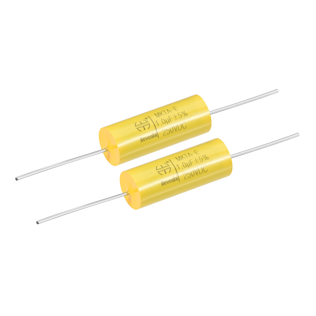 Film Capacitor 250V DC 1.0uF MKTA-E Round Polypropylene Capacitors Yellow 2pcs