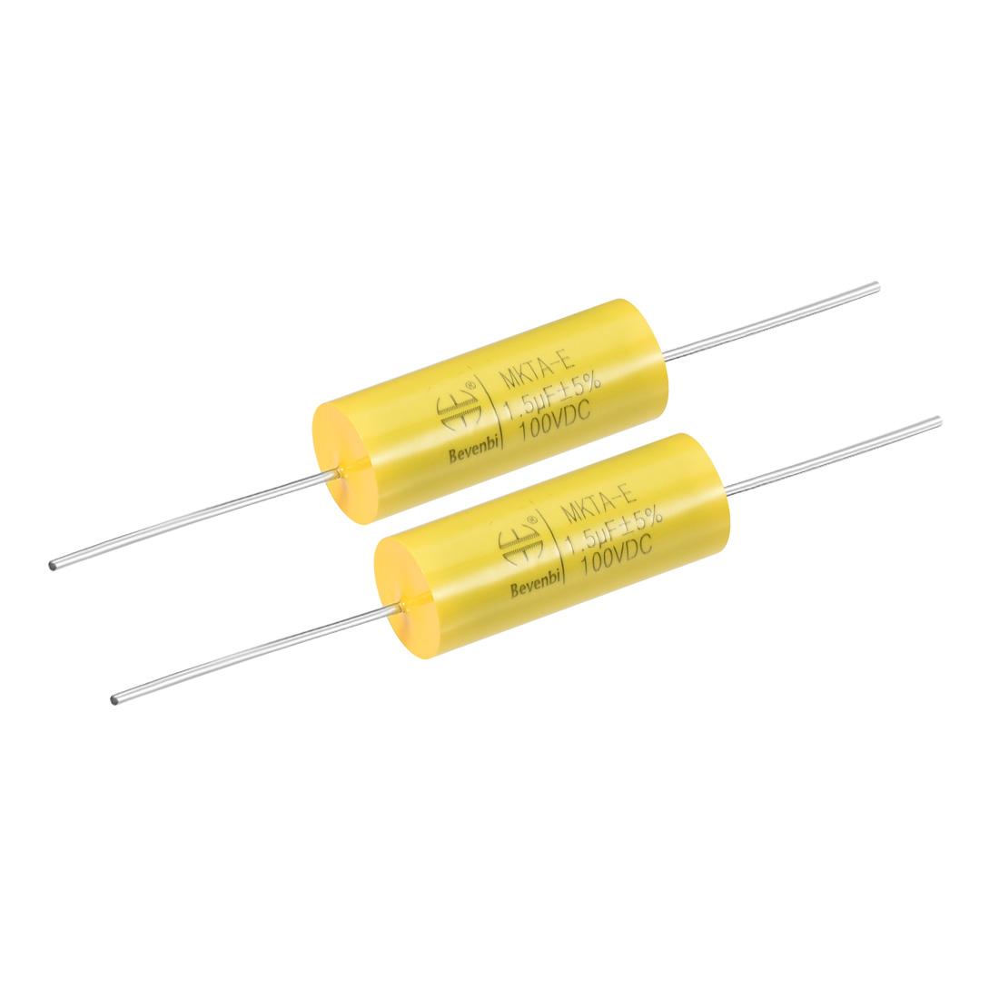 Film Capacitor 100V DC 1.5uF MKTA-E Round Polypropylene Capacitors Yellow 2pcs
