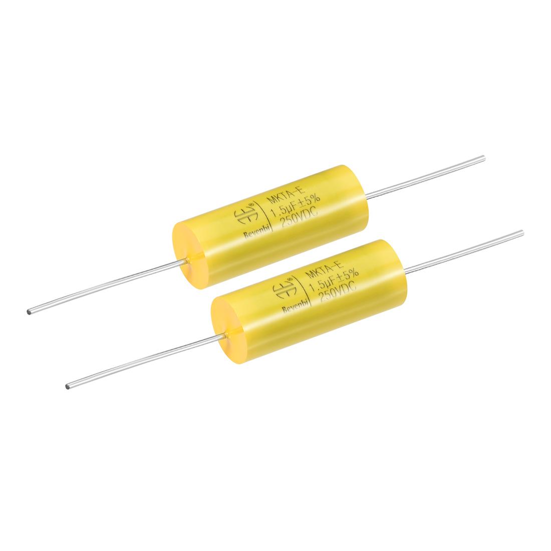 Film Capacitor 250V DC 1.5uF MKTA-E Round Polypropylene Capacitors Yellow 2pcs