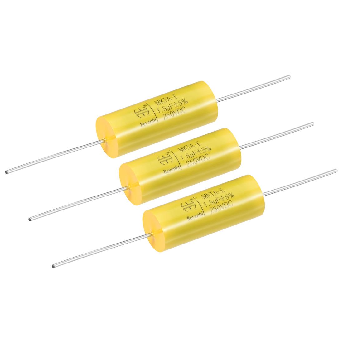 Film Capacitor 250V DC 1.5uF MKTA-E Round Polypropylene Capacitors Yellow 3pcs