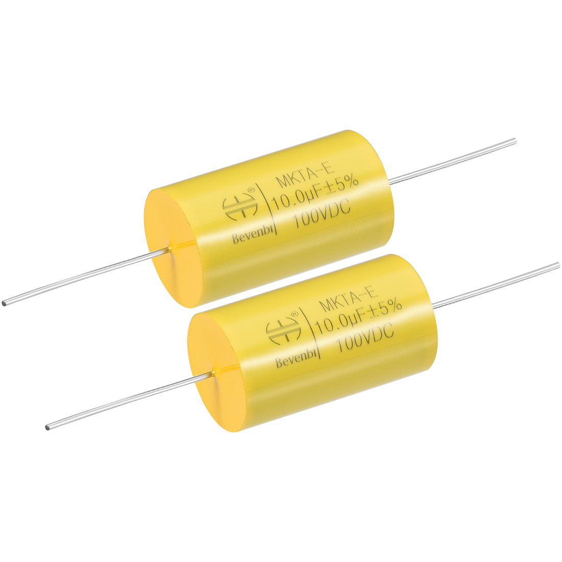 Film Capacitor 100V DC 10.0uF MKTA-E Round Polypropylene Capacitors Yellow 2pcs