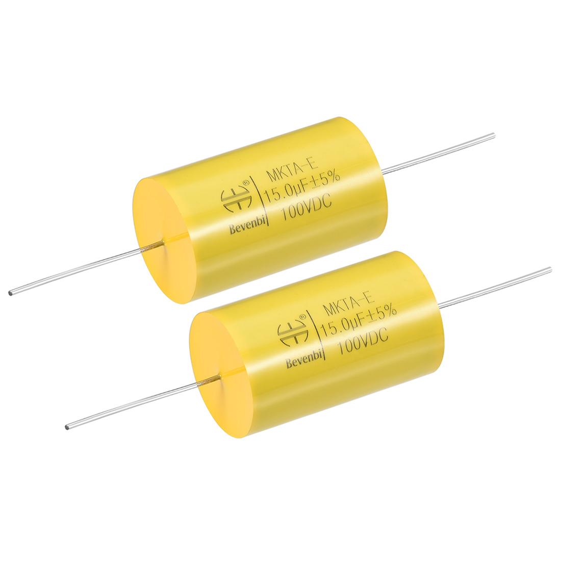 Film Capacitor 100V DC 15.0uF MKTA-E Round Polypropylene Capacitors Yellow 2pcs